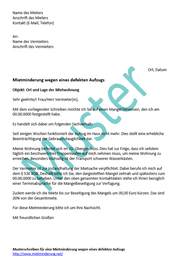 Muster: Mietminderung wegen defektem Aufzug